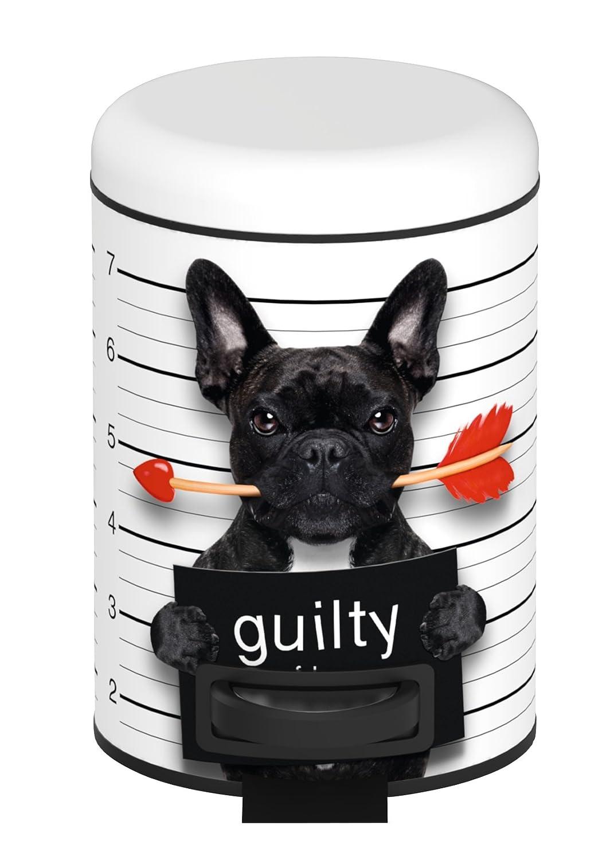 WENKO 22736100 Poubelle /à p/édale Guilty Dog 3 Litres Acier 17 x 25 x 22,5 cm