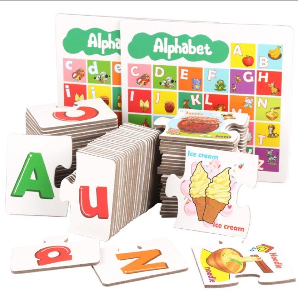 FunnyGoo Majuscules et Minuscules Alphabet Alphabet Lettres ABC Puzzle Correspondant Apprentissage des Cartes avec des Aliments, des Animaux et des Outils pour Les Enfants Enfants d'âge Préscolaire