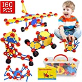 Construction Toys, 160Pcs STEM Learning Toys   Creative DIY Building Blocks Kit   Kids Construction Engineering Set for Boys and Girls Ages 3 4 5 6 7 8 9 10 Year Old, Birthday for Toddlers