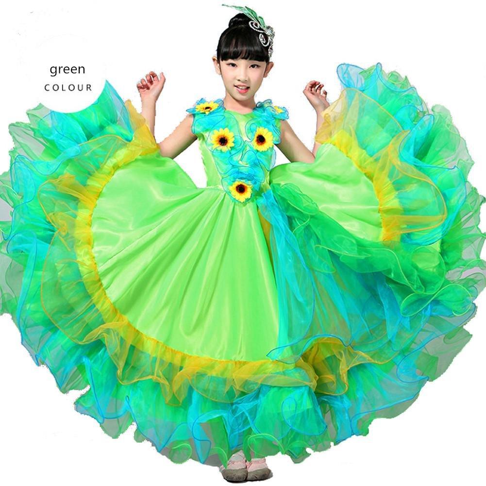 Vert skirt 720 Byjia Enfants Robes De Flamenco Show Costume Jupe Danse Moderne Bull Girl 180 360 540 720 Degrés Perforhommece Big Swing Chorus 130cm