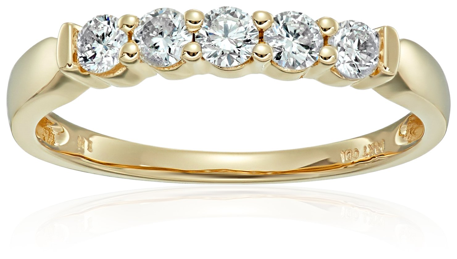 14k Yellow Gold 5-Stone Diamond Anniversary Band (1/2 cttw, H-I Color, I2-I3 Clarity), Size 8 by Amazon Collection