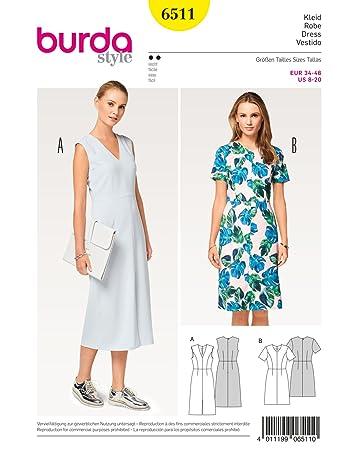 Burda 6511 Schnittmuster Kleid mit V-Ausschnitt und 4-Bahnenrock ...