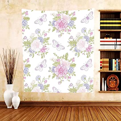 Gzhihine Custom Tapestry Shabby Chic Flowers Floral Design With Buds And Butterflies Ivy Swirl Art