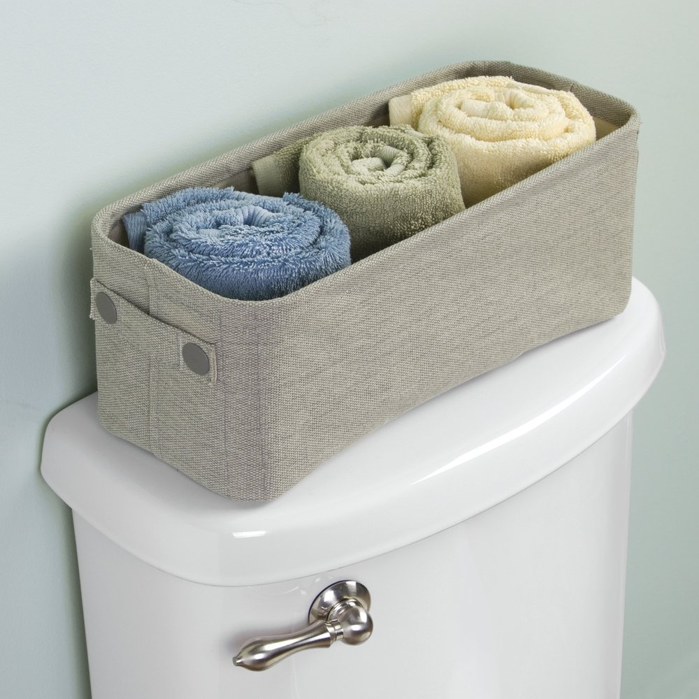 mDesign Cotton Fabric Bathroom Storage Bin, Pack of 2, Small, Light Gray