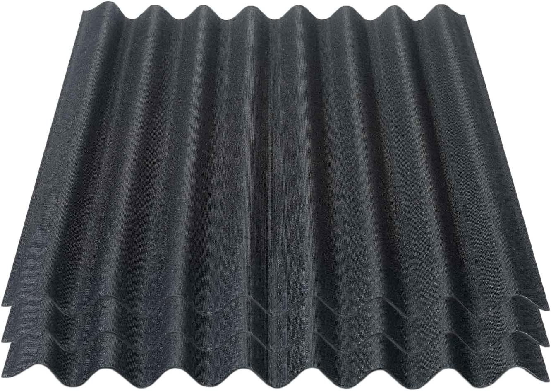 Onduline Easyline Dachplatte Wandplatte Bitumenwellplatten Wellplatte 3x0,76m/² schwarz