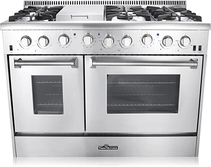 Amazon Com Thor Kitchen Hrg4808u 48 In Freestanding Professional Style Gas Range With Double Oven 6 Burners Convection Fan Cast Iron Grates And Blue Porcelain Oven Interior In Stainless Steel Appliances