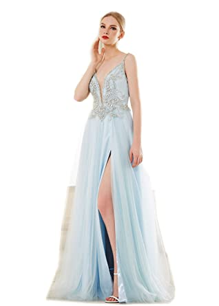 be6cba384e2 Jadore Evening Plunge V Neck Low Back Beaded Bodycon Dress Split Skirt Prom  Wedding Homecoming Party