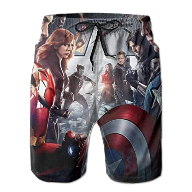 e91aecb14f464 Captain America Vs Iron Man Mens Swim Trunks Summer Quick Dry Board Shorts  Elastic Waist Swimwear