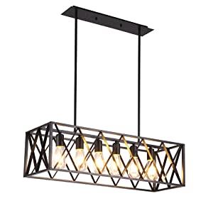 Joypeach 6 Light Nordic Creative Personality Retro Lighting Restaurant Lights Bar style Iron industry Chandelier for Living Room 110V