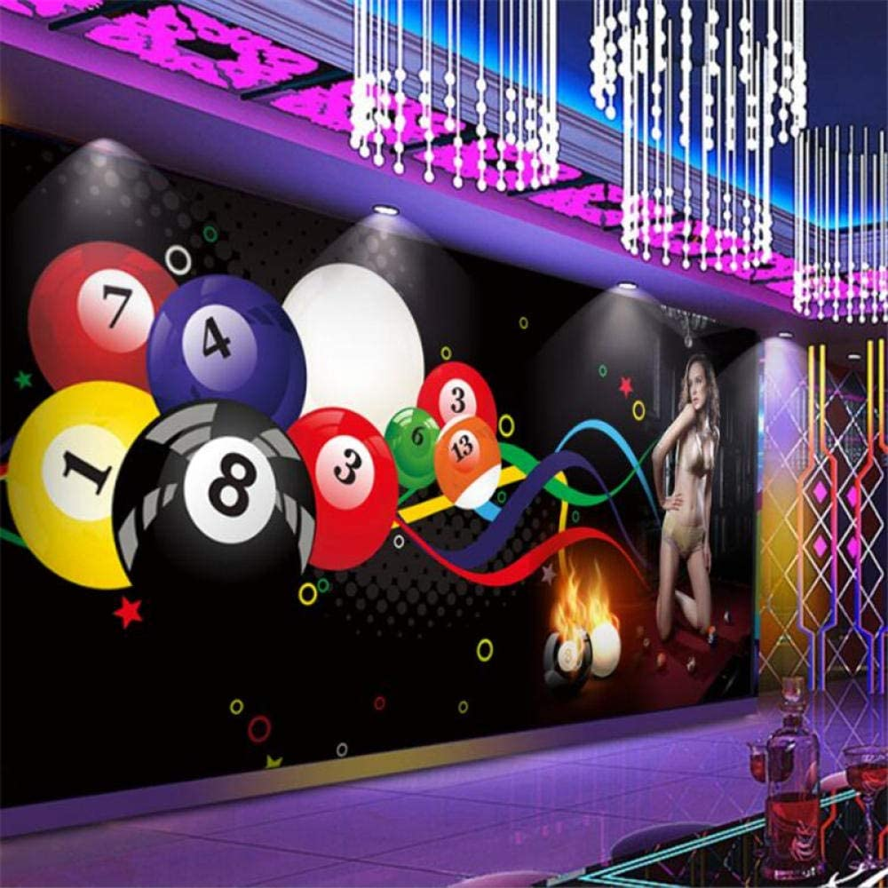 Fondo de pantalla Mural personalizado 3d bola de billar sexy club de belleza gimnasio herramientas fondo decoración de la pared pintura 400cmx200cm: Amazon.es: Bebé