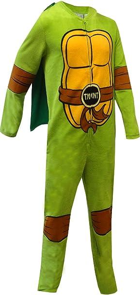 Bioworld Merchandising Mens Teenage Mutant Ninja Turtle Fleece One Piece Pajama with Cape