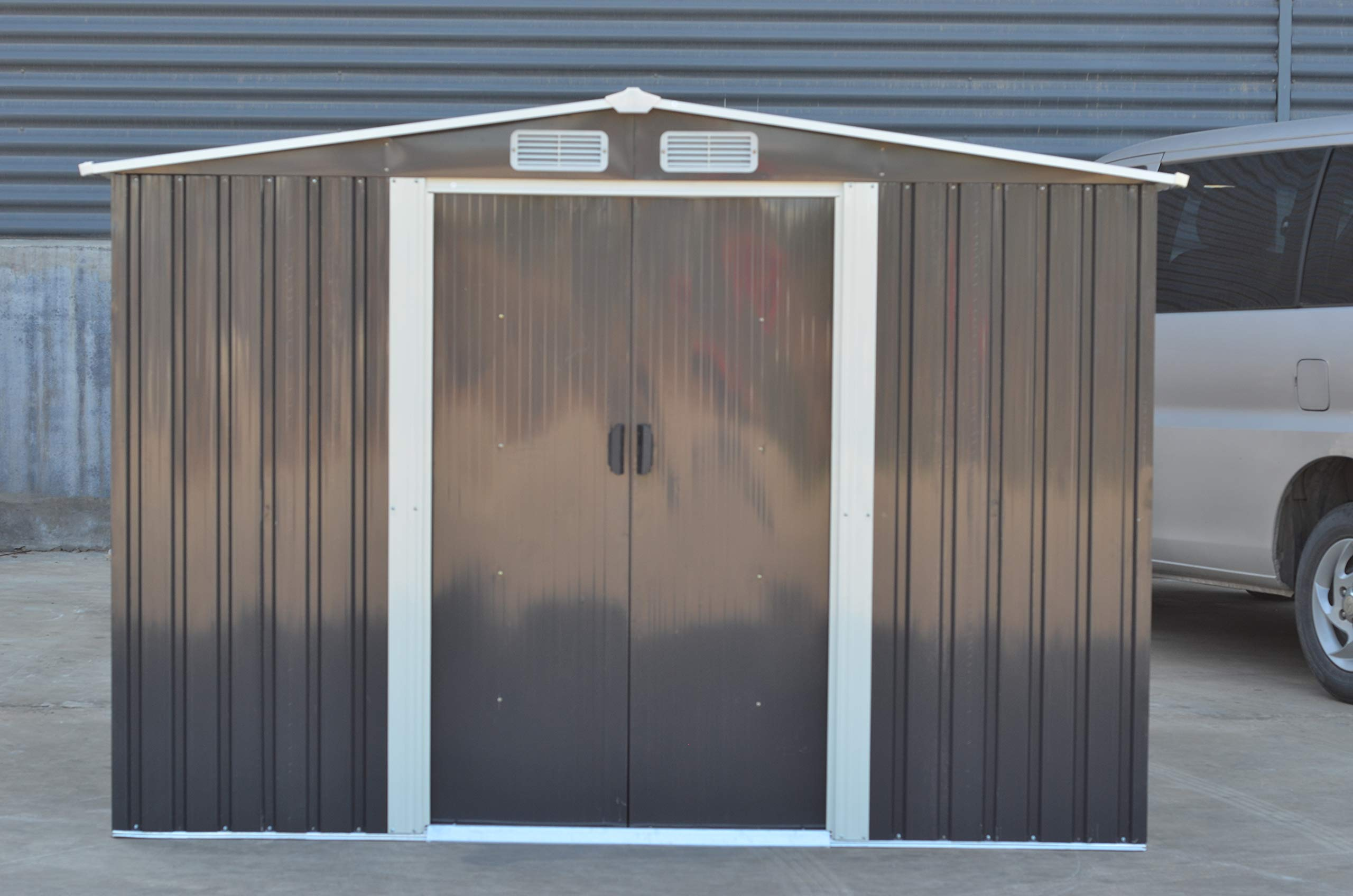 Metal Garden Shed 8X6 8X8,10X8 Apex Roof Outdoor Garden Storage with free base