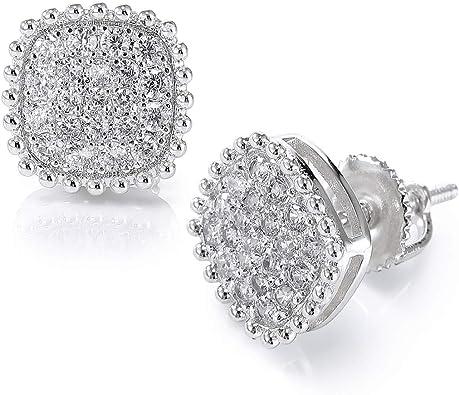 Zircon Men Women Womens Square Stud Earring Mens Earrings White Gold Filled