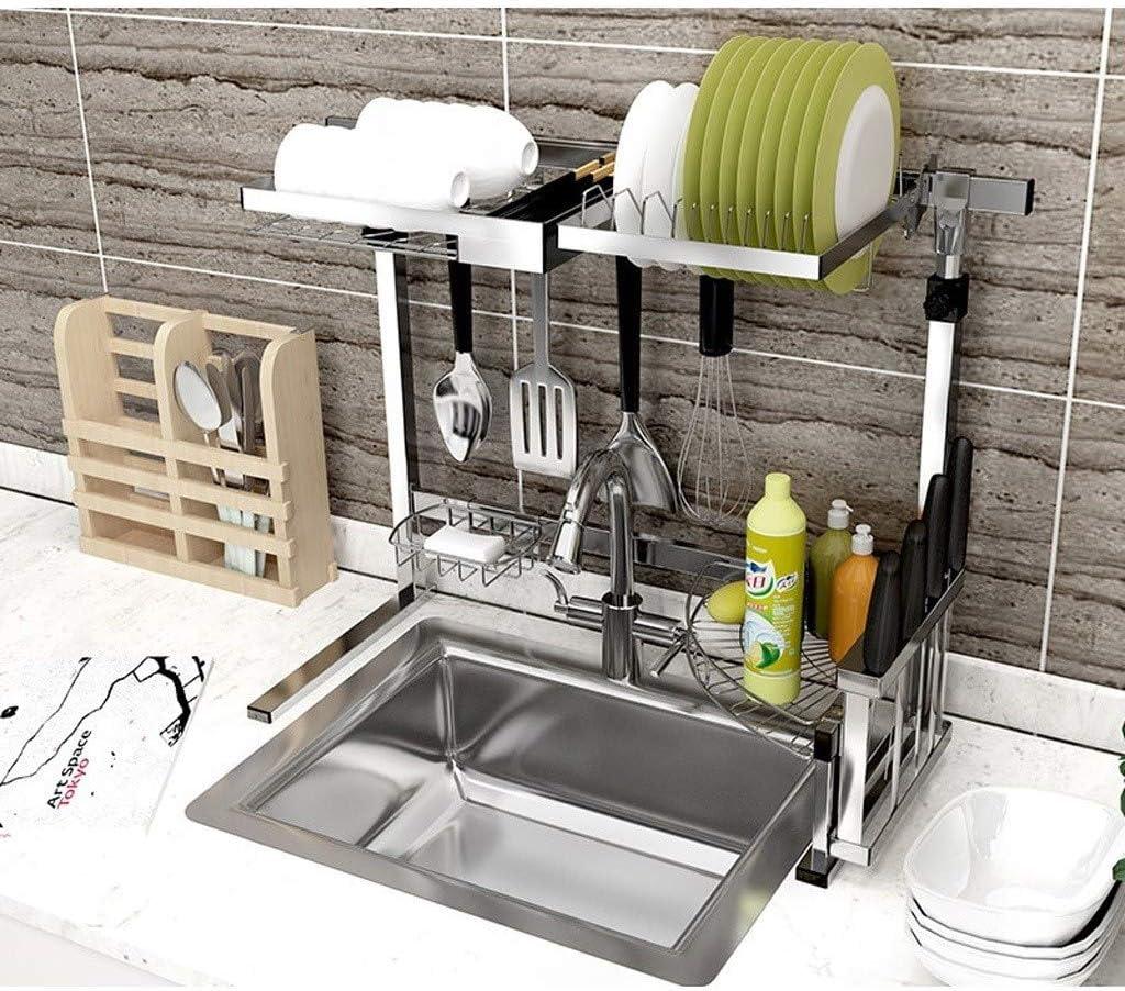 食器水切りラック、キッチンオーガナイザー高さ調節可能なホルダーシンク乾燥は用具アルミ合金ラック