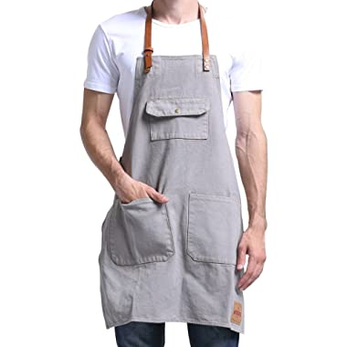 VANTOO Canvas Bib Apron 3 Pockets- Artist Painting Home Shop Kitchen Cooking Commercial Restaurant Apron-Removal Leather Neck Strap Waist Strap Women Men-Perfect Gifts,Grey