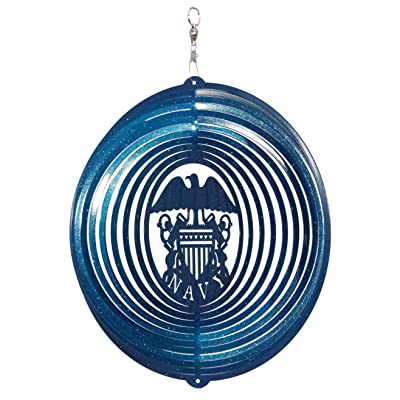 SWEN Products US Navy Circle Swirly Metal Wind Spinner : Garden & Outdoor