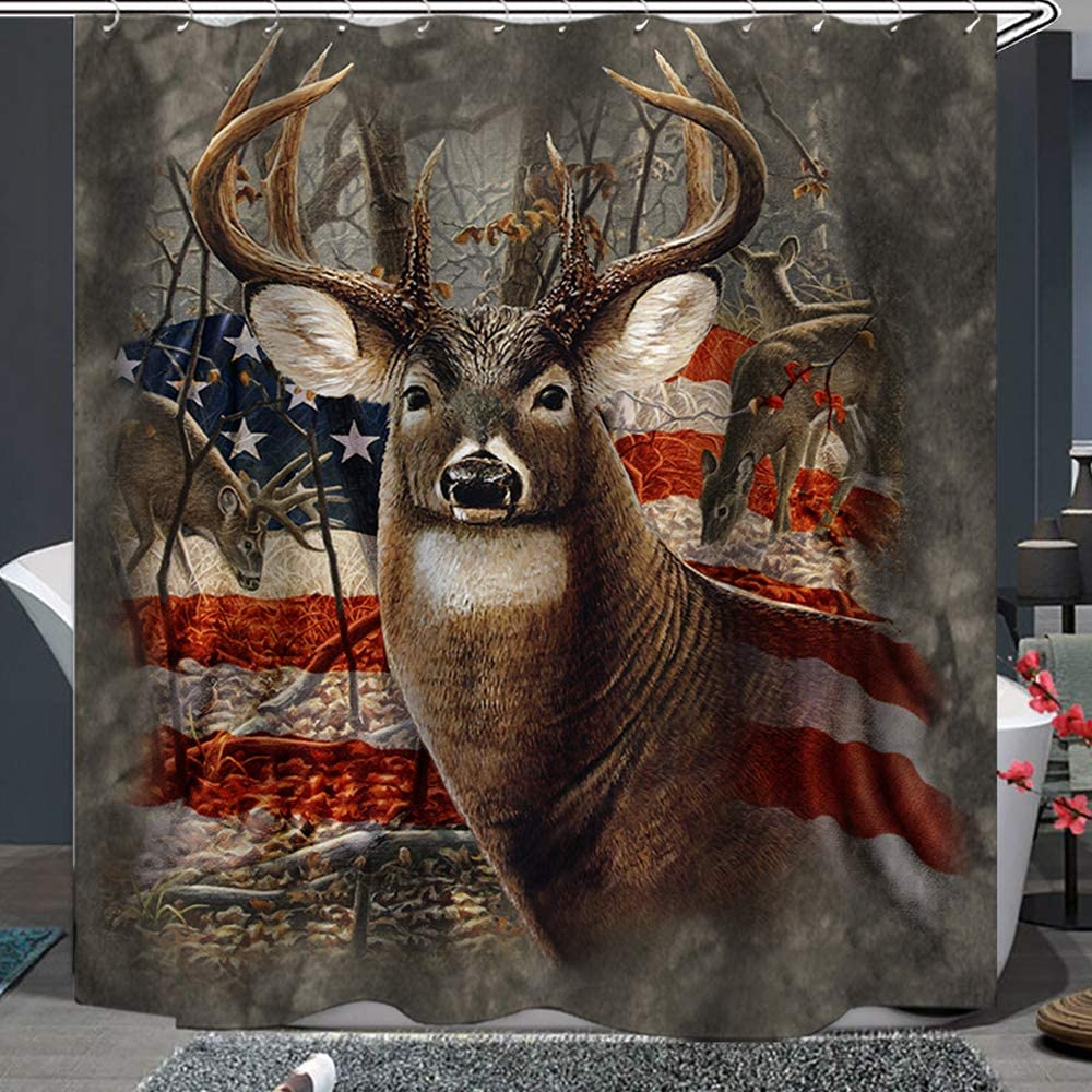 Shower Curtain Set with Hooks Soap Resistant Waterproof Deer Big Antler StarSpangled Banner Background Bathroom Decor Machine Washable Polyester Fabric Bath Curtain 71 x 78 inches