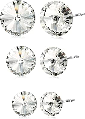 Crystal Round Studs Fashion Earrings for Women|Silver Round-Cut Crystal Stud Earrings 8MM For Wedding Anniversary|Round Hoop Earrings For Girls