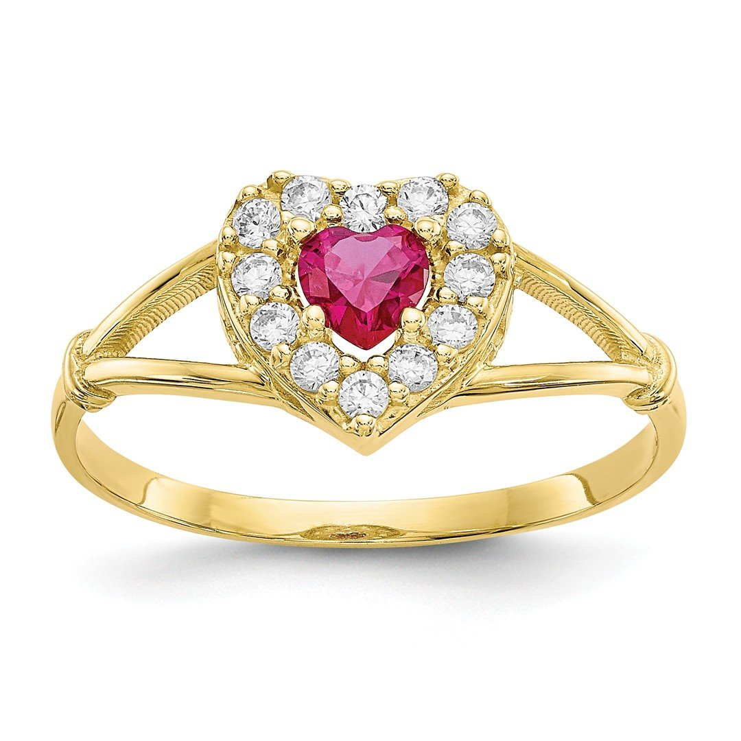 ICE CARATS 10k Yellow Gold Red White Cubic Zirconia Cz Heart Band Ring Size 8.00 S/love Fine Jewelry Gift Set For Women Heart