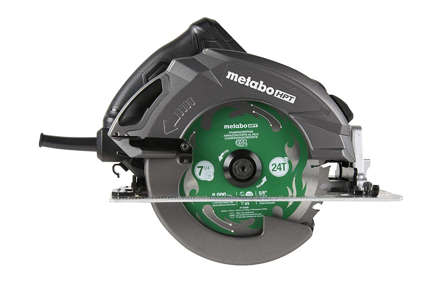 Metabo HPT C7UR RIPMAX Pro 7-1 4-Inch Circular Saw Kit, 6,800 RPM, 15-amp Motor, Dust Blower Function, 24T Premium Framing VPR Blade, Unique Cord Hook, Carrying Bag, 5-Year Warranty
