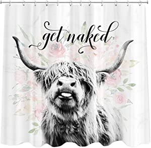 Get Naked Shower Curtain Farmhouse Highland Shower Curtain, Funny Animal Cattle Bull Cow Floral on Marble Fabric Shower Curtains for Bathroom,72x72Inch Western Bathroom Curtain 12 Pack Plastic Hooks