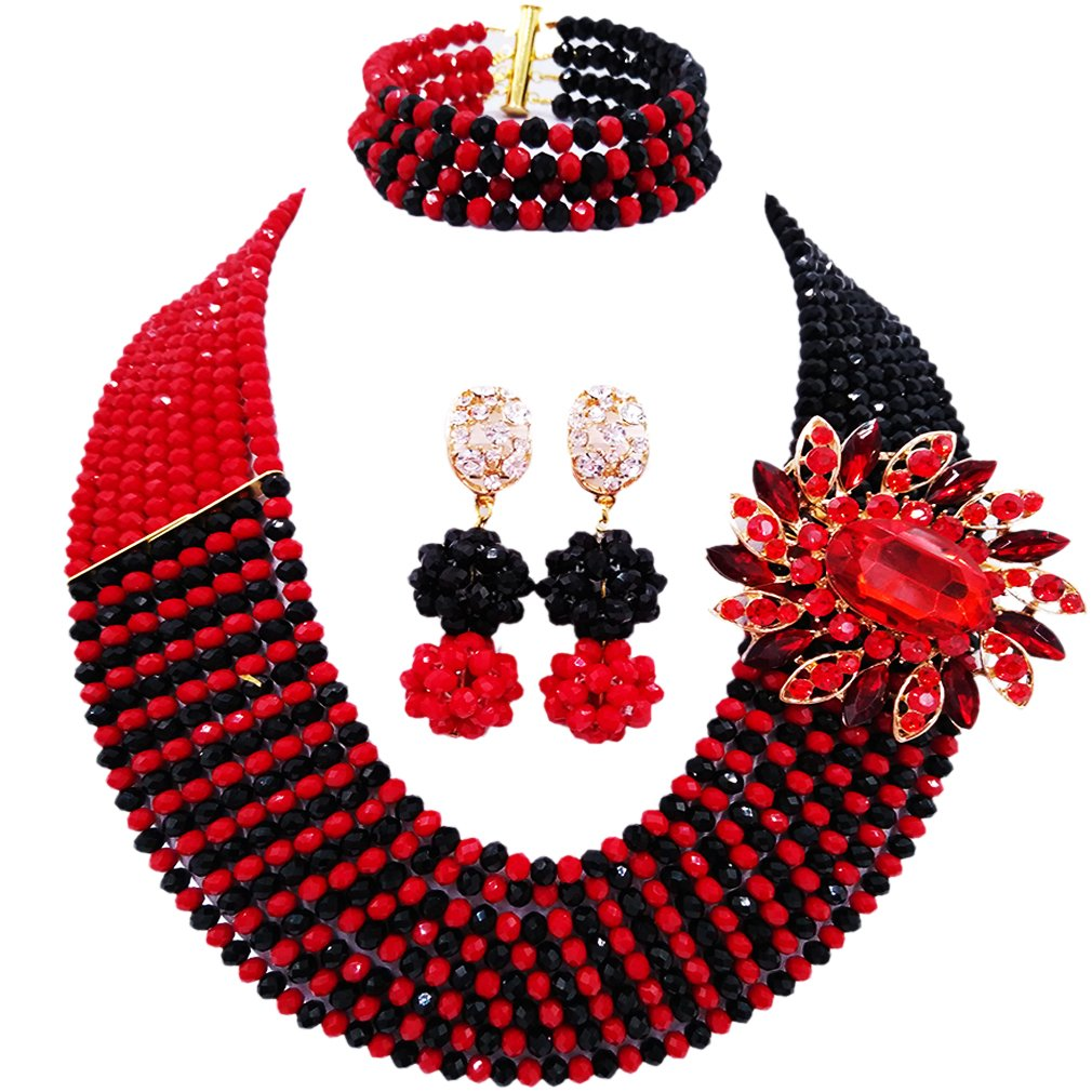 aczuv 8 Rows African Bead Necklace Jewelry Set for Women Nigerian Wedding Bridal Jewelry Sets (Opaque Red Black)