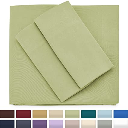 Premium Bamboo Bed Sheets   Queen Size, Sage Green Sheet Set   Deep Pocket