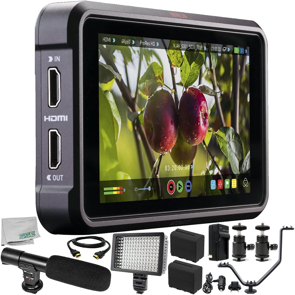 """Atomos Ninja V 5"""" 4K HDMI Recording Monitor 11PC Bundle – Includes 2X Replacement Batteries + AC/DC Rapid Home & Travel Charger + HDMI Cable + Microfiber Cleaning Cloth"""