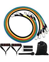 DONGJI Resistance Band Set with Door Anchor, Ankle Strap for Fitness and Exercise(5 Colors)