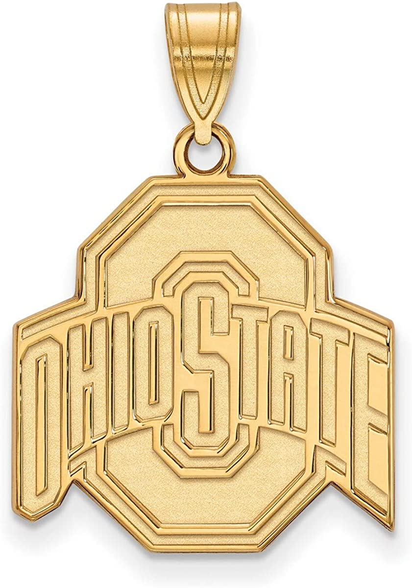 Ohio State University Buckeyes School Letter and Name Pendant with Necklace in Stainless Steel