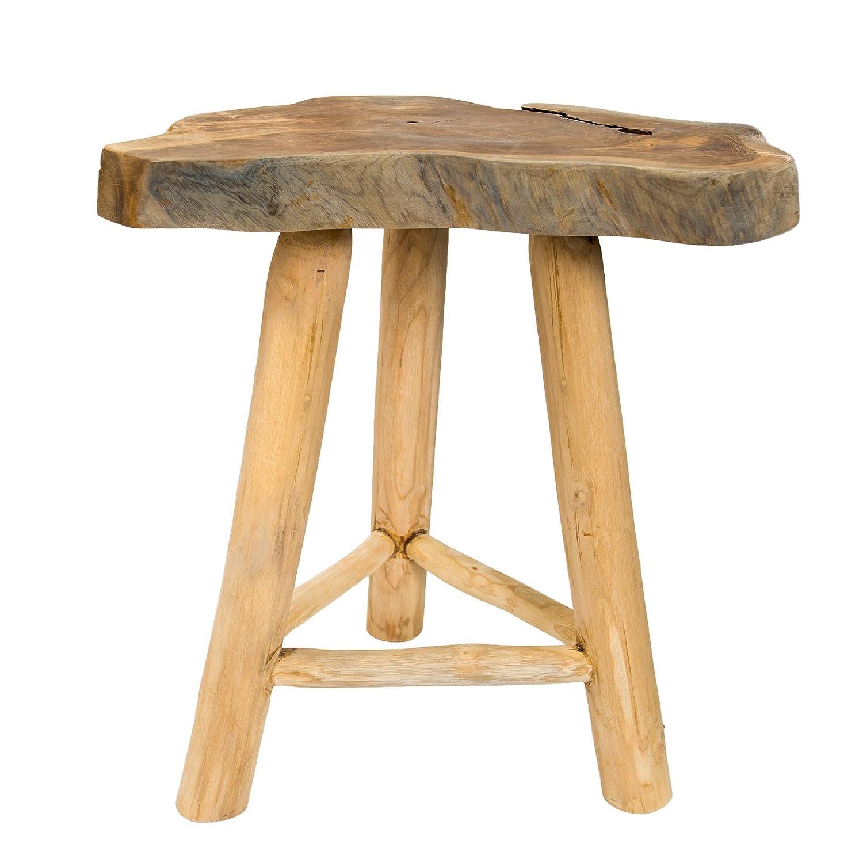 Invicta Interior Massiver Teak Baumscheiben Beistelltisch Root 45 cm Couchtisch aus Echtholz mit Jahresringen