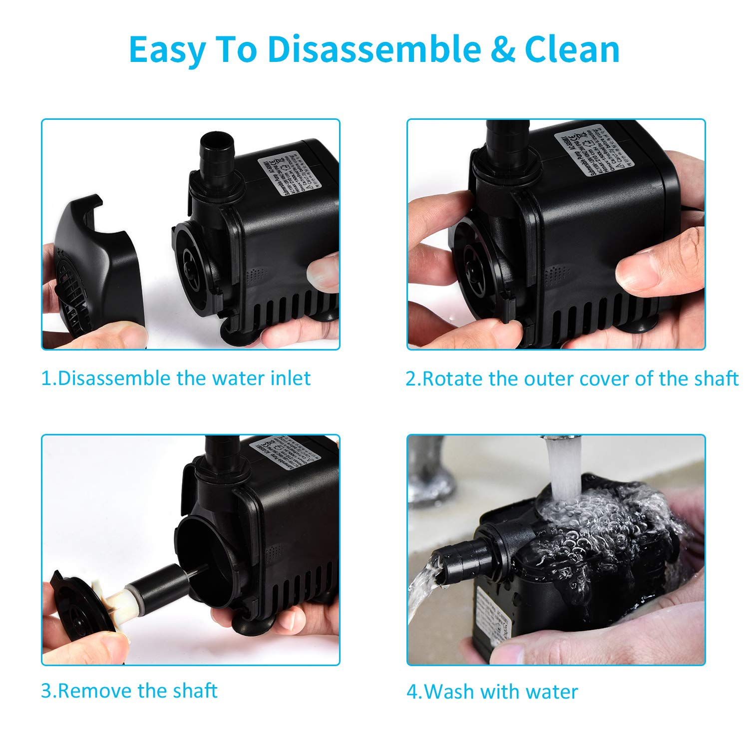 Fountain Pump 400GPH 25W Outdoor Fountain Water Pump kit Pond Pump Submersible Pump with 2 Nozzles Hose Tubing for Aquarium Fish Tank Fountain Pond Submersible Hydroponic and Backyard Garden