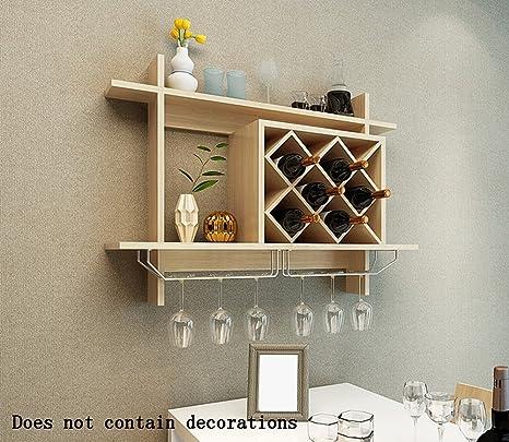 Global-DIY Tipo colgante Paneles a base de madera Armario de vino / Portavasos /