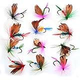 Piscifun® 12pcs Dry Flies/ 40pcs Wet Flies Fly Fishing flies Kit Bass Salmon Trouts Flies Floating/Sinking Assortment with Fly Box