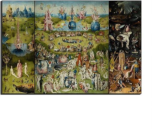 Five-Seller Jardín De Las Delicias Terrestres De Hieronymus Bosch Lienzo Cuadros Famosos Reproducción De Arte Impreso En Lienzo Arte De Pared Arte para Decoraciones para El Hogar (50_x_70_cm): Amazon.es: Hogar