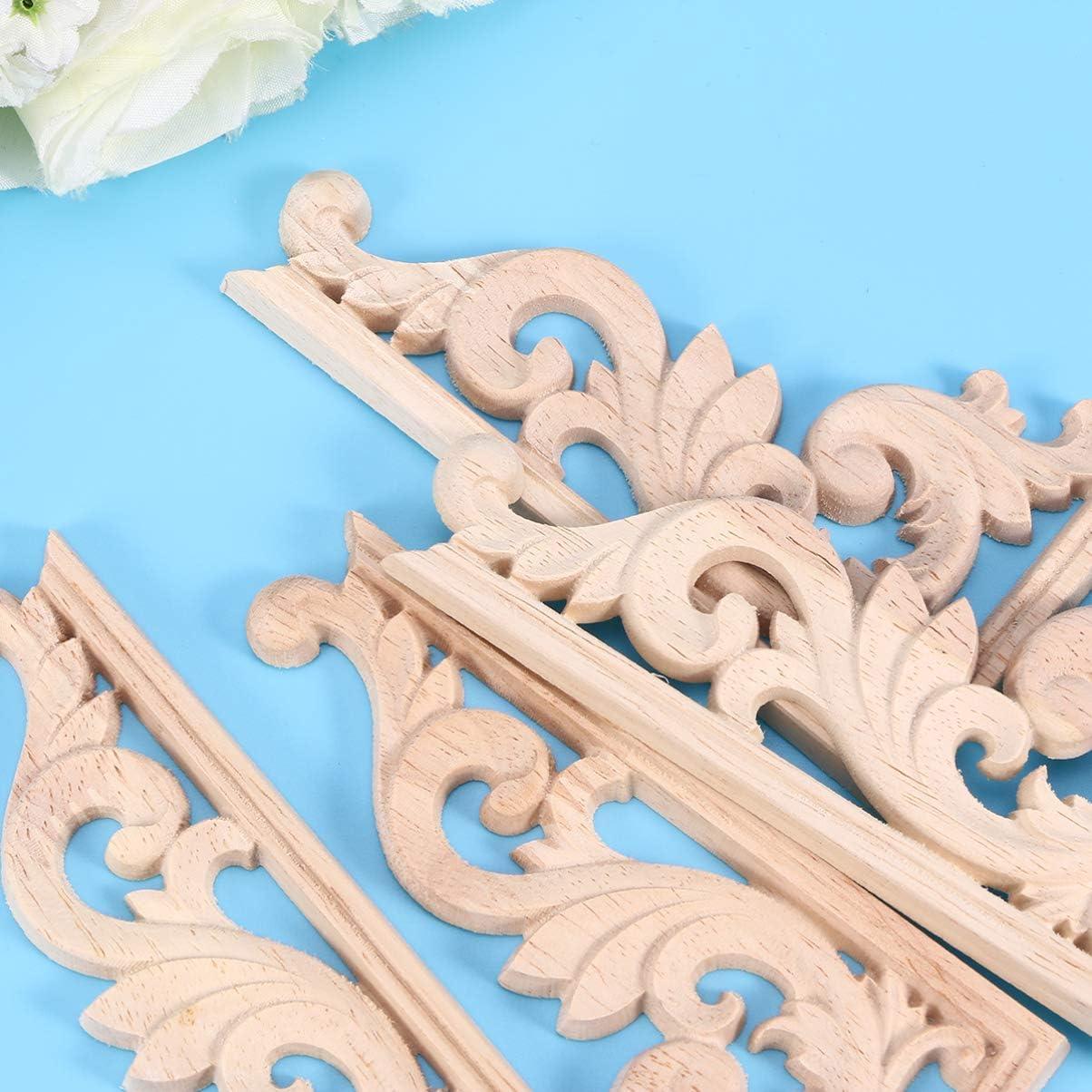marco de decoraci/ón de puerta de estilo europeo para muebles gabinetes y camas puertas apliques para ventanas HEALLILY Apliques de madera tallada en onlay sin pintar