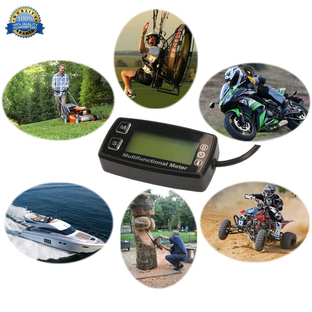 Foundown induttivo digitale retroilluminato induttivo Contaore tachimetro per 2//4/tempi motori termometro motorcycle marine Glider ATV barca tosaerba impermeabile 35T