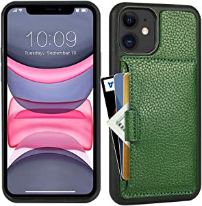 ZVE Wallet Wallet Case Compatible with iPhone 12/iPhone 12 Pro(2020), 6.1 inch, Slim Purse Case with Card Holder Slot Leather Cover for iPhone 12/ iPhone 12 Pro, 6.1 inch-Dark Green