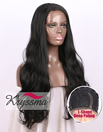 K ryssma Realistic Looking Long Straight Synthetic Lace Front Wigs for Women  Deep L Shape 2468b356b3