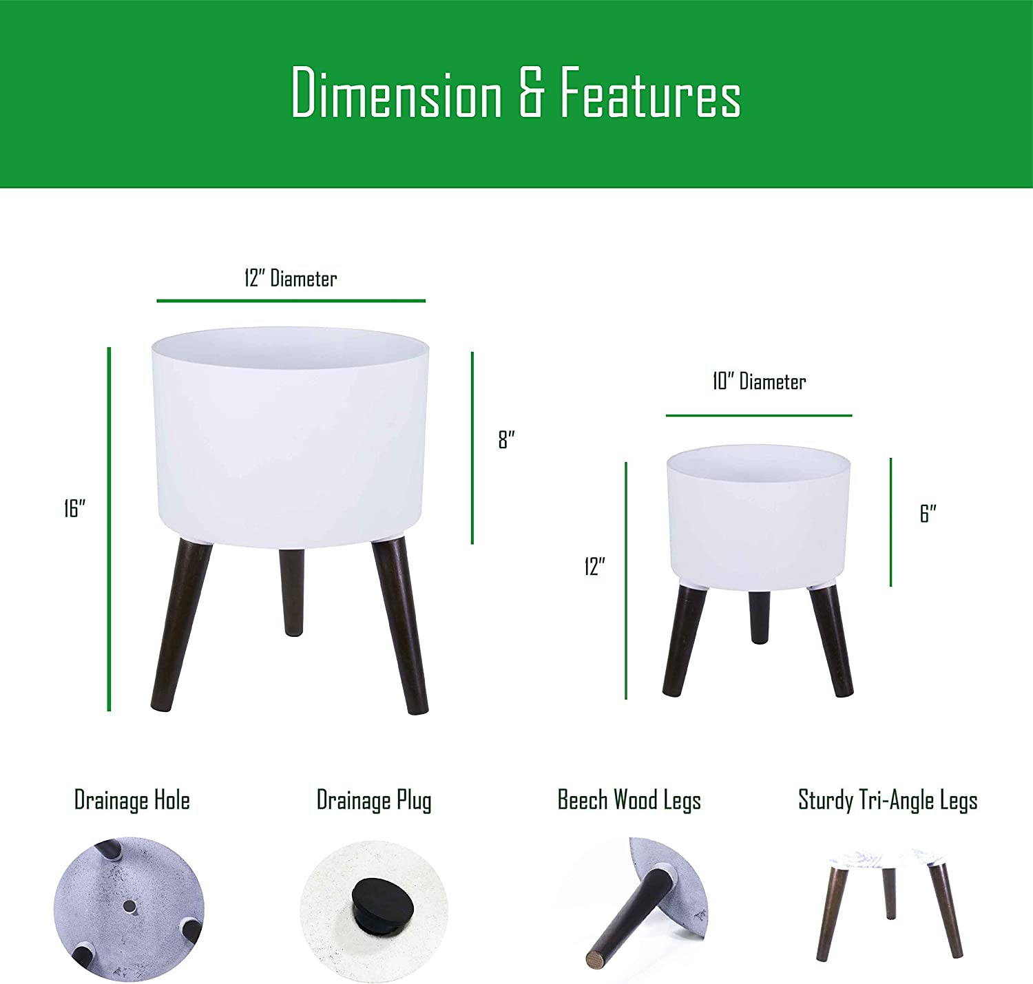 12 Inches Indoor Planter Pot with Stand 16 Inches Tall – Matte White – with Drainage Hole and Plug – by D vine Dev