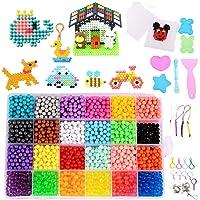 Gudotra 3600 Perlas en 24 Colores Kit Aquabeads Abalorios Cuentas de Agua para Juguetes DIY Artesanía Niños
