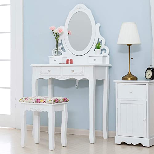 Mecor Vanity Table Set, Makeup Table with Oval Mirror Hollow Carved Frame, Wood Dressing Table w Cushoined Stool 4 Drawers Kids Girls Women Bedroom Furniture White