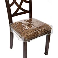 """Houseables Chair Seat Covers, Plastic Cover, Fits 16"""" - 18"""" Seats, 2 Pack, Clear, Adjustable, PVC, Waterproof Protector…"""