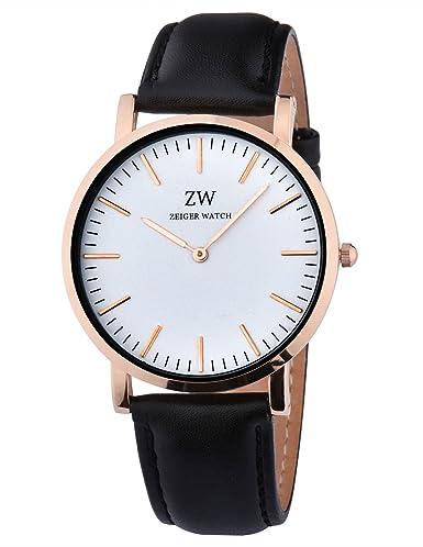 Reloj Hombre de Cuero Negro KZKR Reloj Hombre Elegante Clásico Reloj Hombre de Cuero Lujo Negro W480: Amazon.es: Relojes