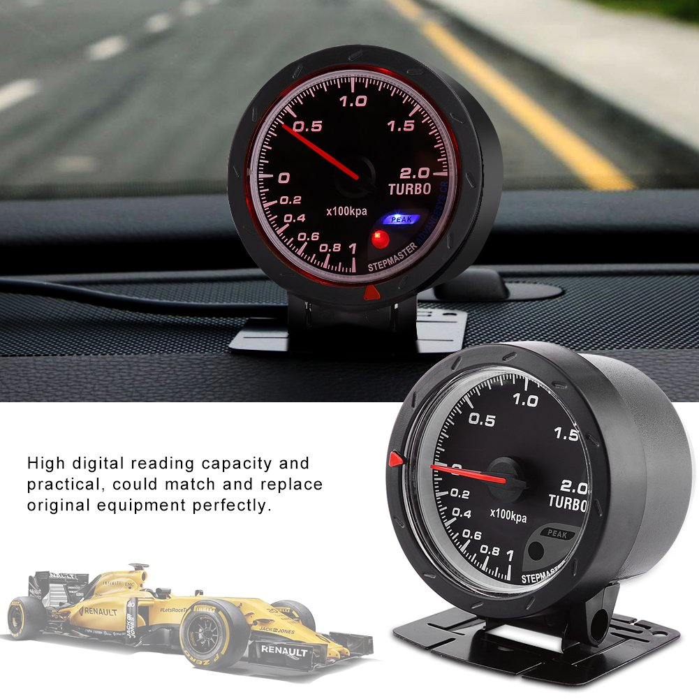 Amazon.com: Qiilu LED Turbo Boost Gauge Meter Smoke Face Universal 60mm 2.36″ Black Vacuum Shell For Auto Racing Car 0-200 Kpa: Electronics