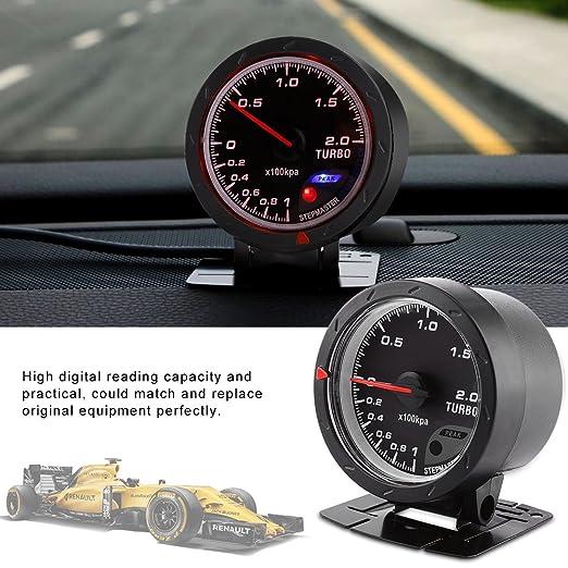 Qiilu Universal 60mm LED Turbo Boost manométrica Medidor para automóvil de Carreras 0-200 Kpa con Soporte y Accesorios de instalación Negro: Amazon.es: ...