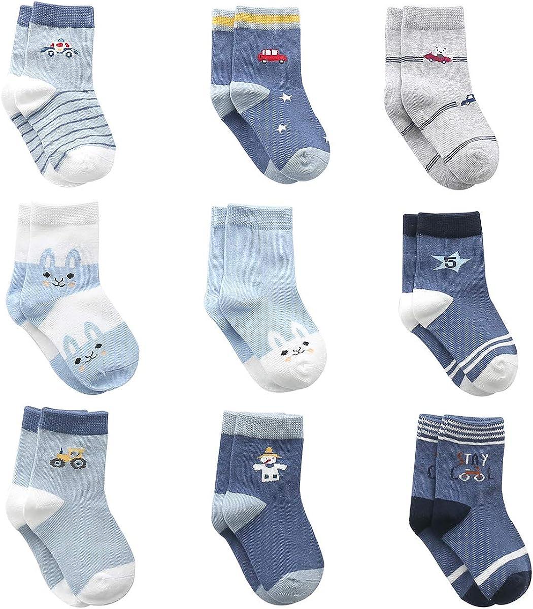 Cotton Coming Algodón Niños Calcetines Bebé,9 Pares Lindo adj. Bebé Calcetines Niño
