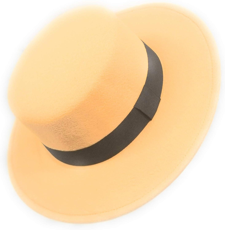 Tan LA Express Adjustable Wide Brim Fedora Felt hat