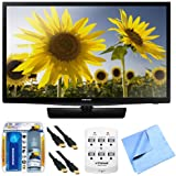 Samsung UN28H4500 28-inch HD 720p Smart LED TV Clear Motion Rate 120 Plus Hook-Up Bundle includes 28-inch HD TV, 6 Outlet Surge Protector w/ 2 USB Ports, 2 x 6ft 3D HDMI Cable, Cleaning Kit and Cloth