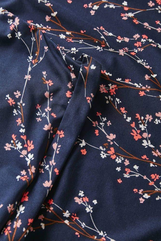 fransa dam kort ärm blus och V-ringning Blau (Flower Branch 69466)